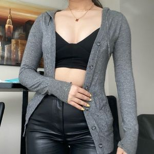 TALULA Gray Hooded Button Up Cardigan Top